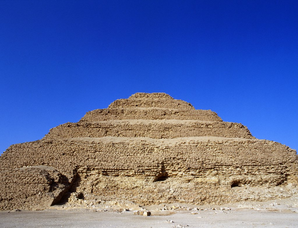 Stock Photo: 1899-64536 The step pyramid of Zoser, Egypt. Ancient Egyptian. Old Kingdon 5th dynasty. Saqqara.