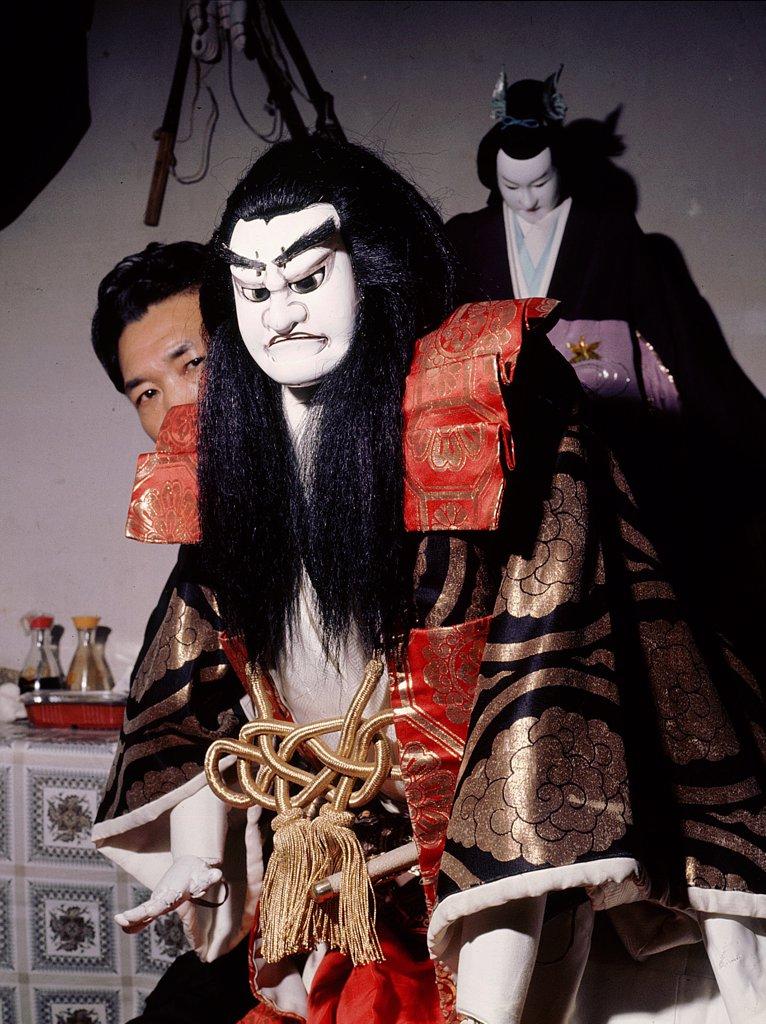 Stock Photo: 1899-64560 Bunraku puppet and manipulator Tamakoyo Yoshida, Japan. Kyokai, Osaka.