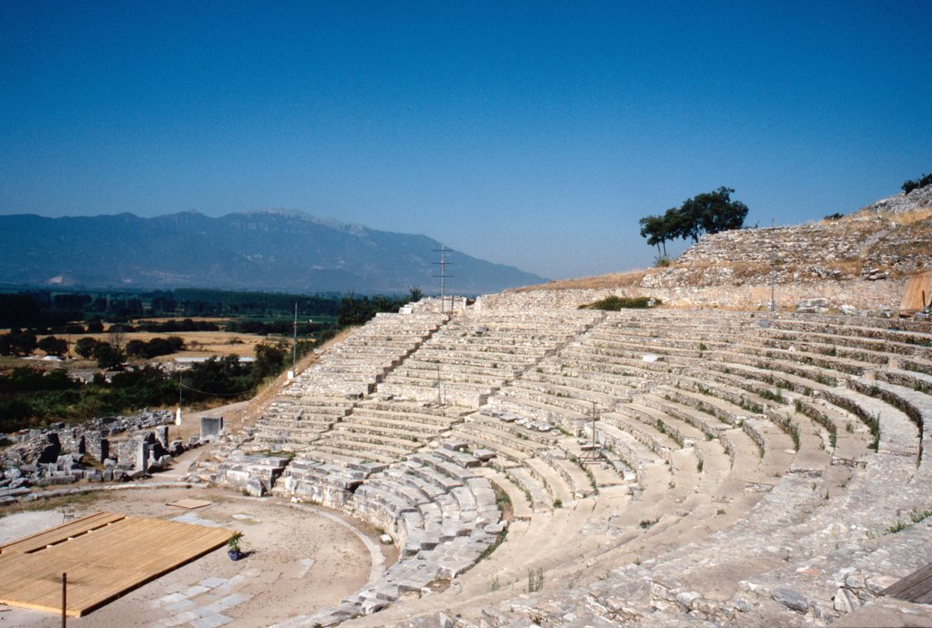 Stock Photo: 1899-64663 View of the theatre at the Graeco-Roman city of Philippi, Macedonia, northern Greece, The city was founded and named in 356 BC by Philip II and the theatre was remodelled in Roman times, 2nd c AD. Greece. Ancient Greek. Hellenistic and Roman times. Philippi.