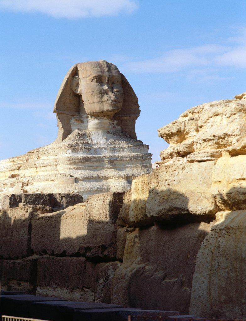 Stock Photo: 1899-64680 The Giza Sphinx, Egypt. Ancient Egyptian. Old Kingdom 4th dynasty. Giza.