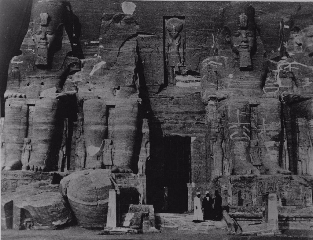 Stock Photo: 1899-64753 The colossal statues of Ramses II at Abu Simbel, photographed in the 1920's, Ancient Egypt. Ancient Egyptian. New Kingdom, 19th Dynasty, 1244 - 1224 BC. Abu Simbel.