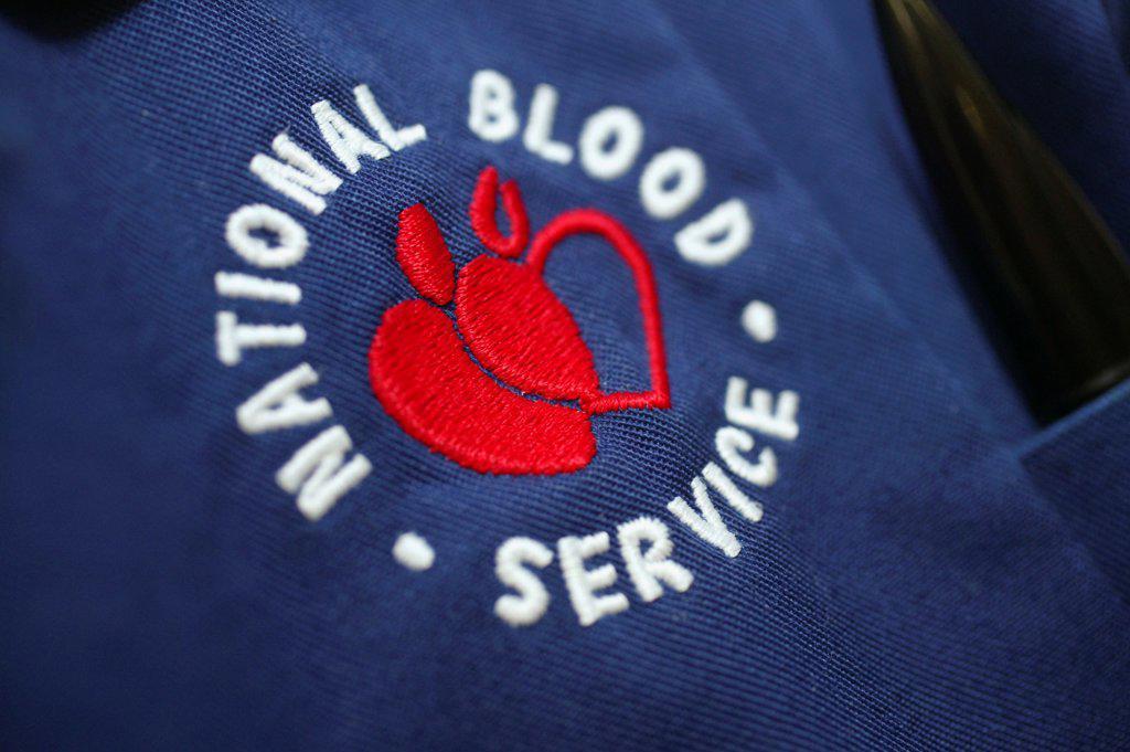 Stock Photo: 1899-65961 National Blood Service emblem from nurses uniform