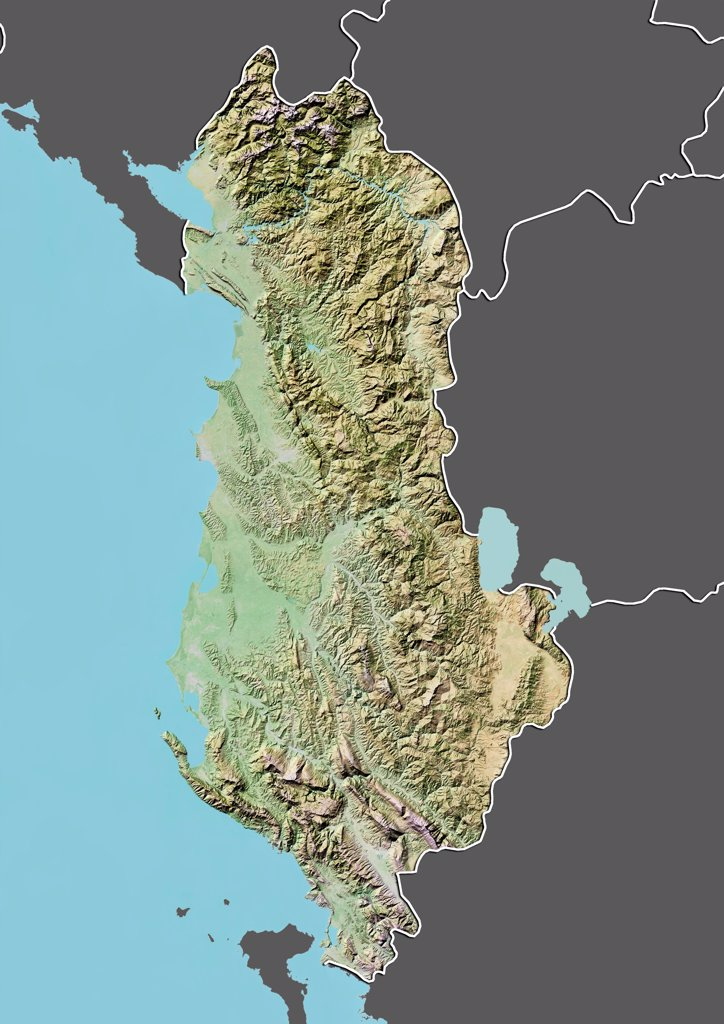 Stock Photo: 1899-66711 Relief map of Albania (with border and mask). This image was compiled from data acquired by landsat 5 & 7 satellites combined with elevation data.