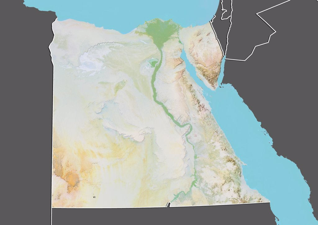 Stock Photo: 1899-66750 Relief map of Egypt (with border and mask). This image was compiled from data acquired by landsat 5 & 7 satellites combined with elevation data.