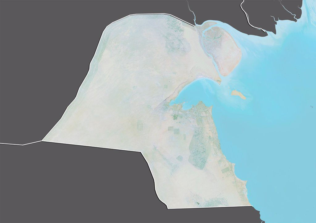 Stock Photo: 1899-66785 Relief map of Kuwait (with border and mask). This image was compiled from data acquired by landsat 5 & 7 satellites combined with elevation data.