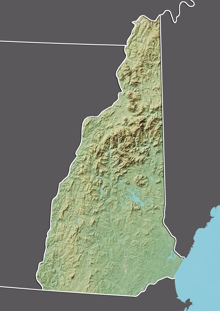 Stock Photo: 1899-66975 Relief map of the State of New Hampshire, United States. This image was compiled from data acquired by LANDSAT 5 & 7 satellites combined with elevation data.