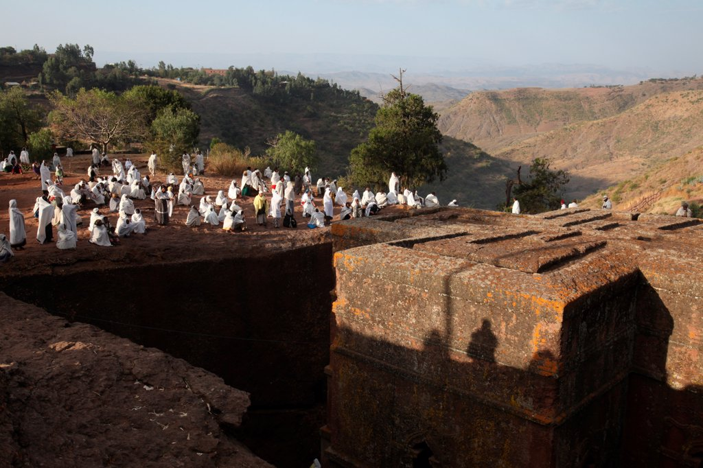 Stock Photo: 1899-67436 Pilgrims outside Bieta Ghiorghis (Saint George's House) church in Lalibela on a sunday
