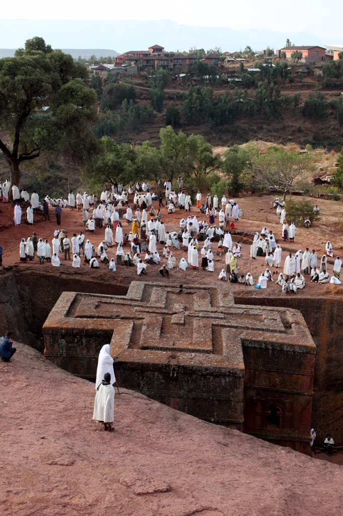 Stock Photo: 1899-67437 Pilgrims outside Bieta Ghiorghis (Saint George's House) church in Lalibela on a sunday