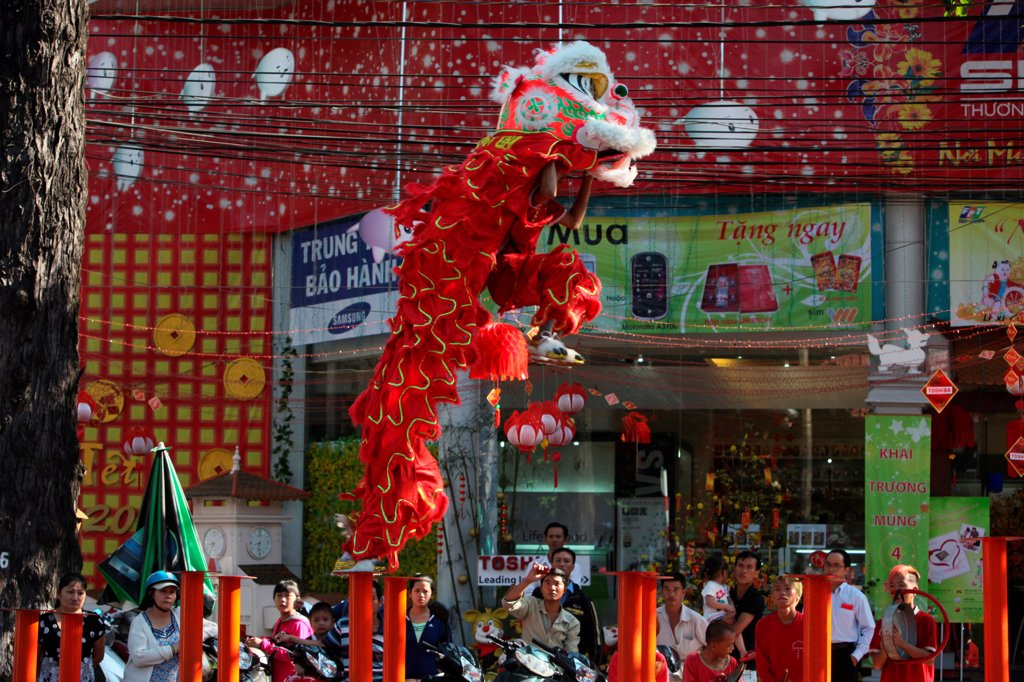 Chinese New Year. Lion dance performers. : Stock Photo