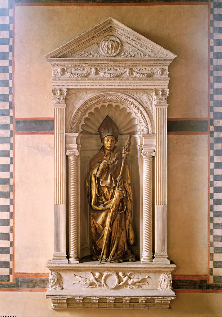 Stock Photo: 1899-70785 Italy, Tuscany, Florence, Santa Croce Church and Museum. Whole artwork view. The statue of Saint Louis of Toulouse commissioned by the Guelph faction for its tabernacle in Orsanmichele.