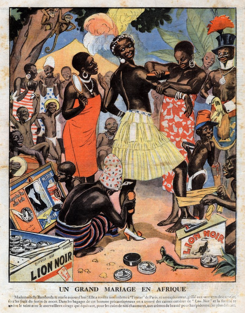 Print advertisement for the French shoe polish brand Lion noir, African women shining a brides skin with the shoe polish Lion noir, in preparation for her wedding. Illustration from French newspaper Le Petit Journal Illustre. January 3rd, 1926. Private Collection. : Stock Photo