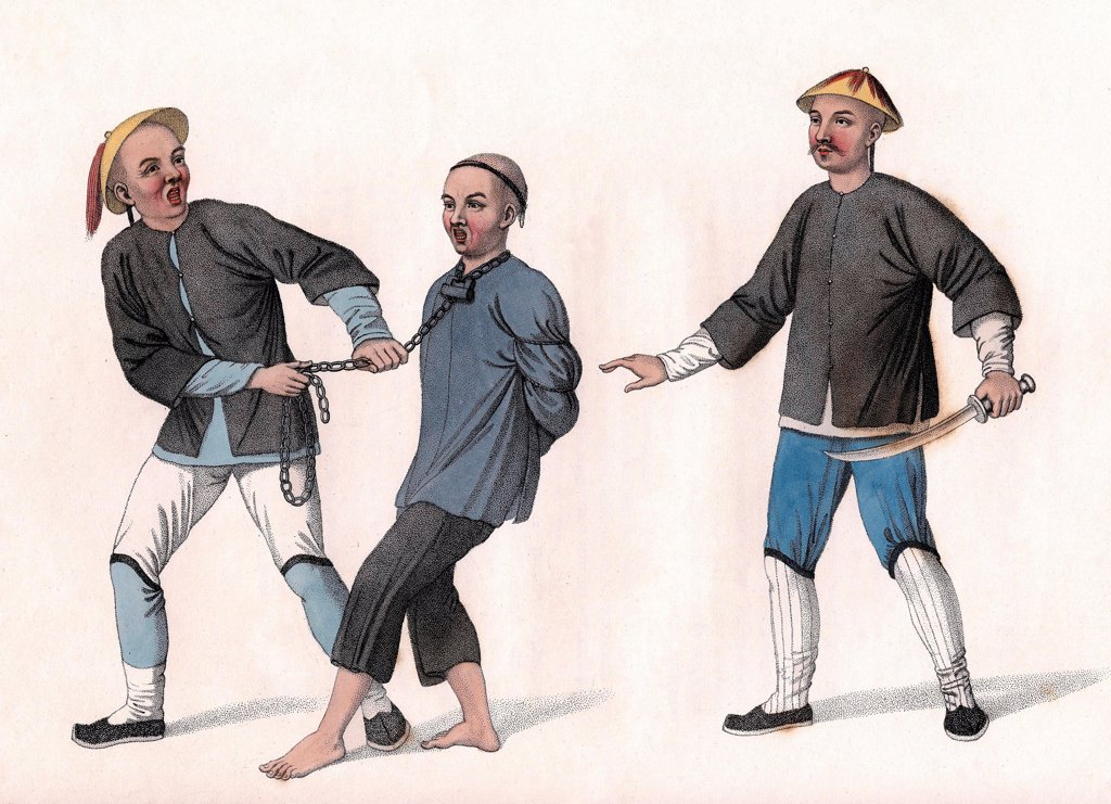 Stock Photo: 1899-72641 Chinese punishments, Culprit conveyed to prison, an iron chain around his neck. Illustration by English painter Dadley, from the book The Punishments of China, London, 1801.