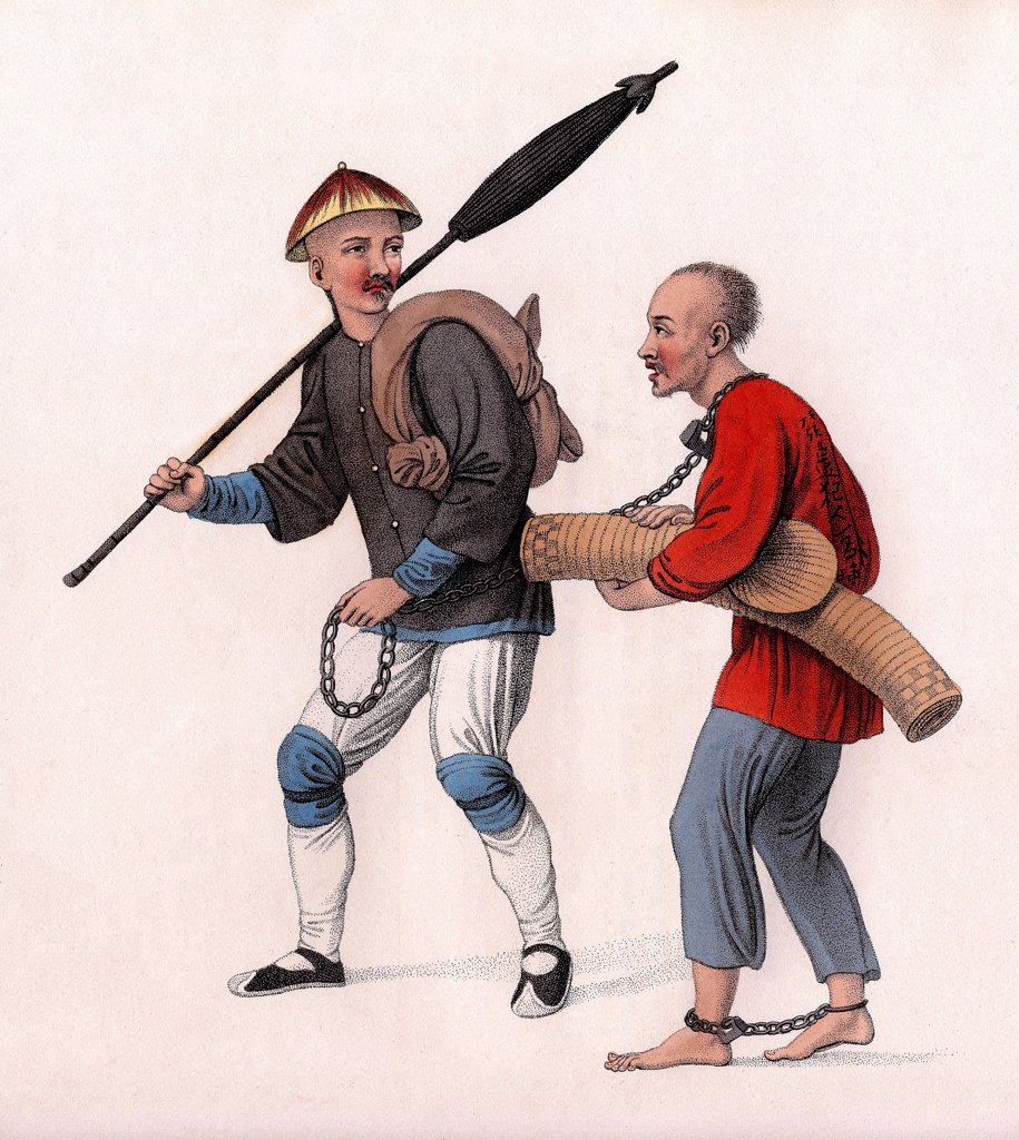 Chinese punishments, Conducting an offender into banishment. Illustration by English painter Dadley, from the book The Punishments of China, London, 1801. : Stock Photo