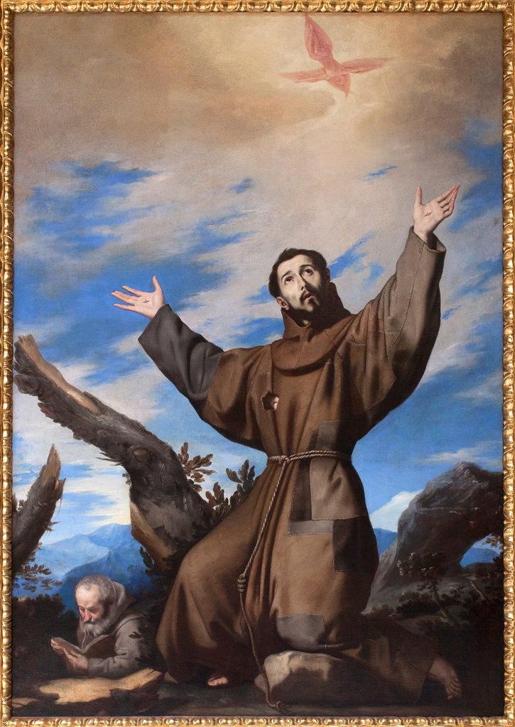 Saint Francis of Assisi, by Spanish painter Jusepe de Ribera 1591-1652. Oil on canvas. Museum of Fine Arts, Budapest Hungary. : Stock Photo