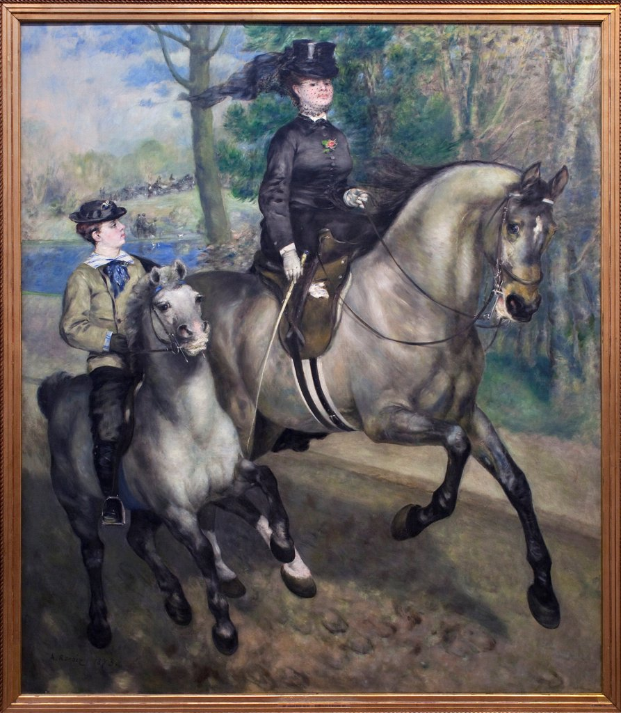 Stock Photo: 1899-73564 A morning ride in the Bois de Boulogne, by French Impressionist painter Auguste Renoir 1841-1919. Oil on canvas, 1873. Hamburger Kunsthalle, Hamburg Germany.
