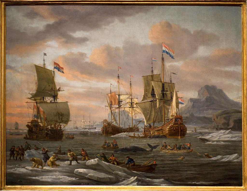 Stock Photo: 1899-73605 Dutch whalers off a rocky coast, by Dutch painter Abraham Storck 1644-1708. Oil on canvas, 1670. Maritime Museum, Rotterdam Netherlands.