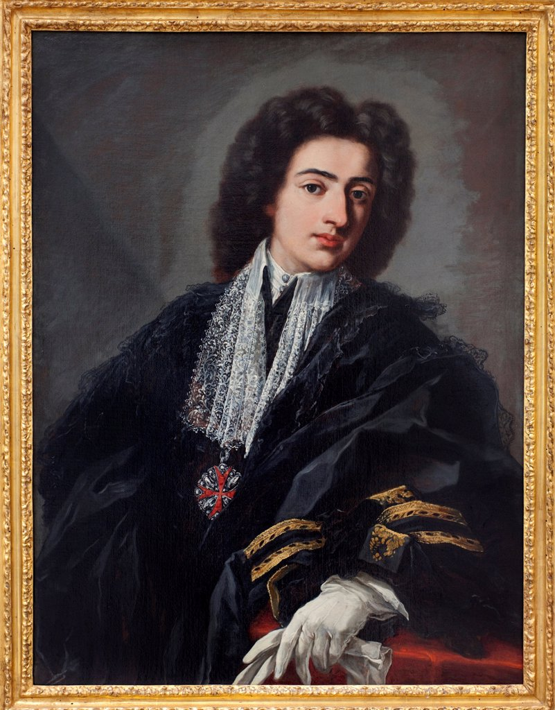 Stock Photo: 1899-73617 Portrait of Carlo Albani, by Italian painter Pier Leone Ghezzi 1674-1755. Oil on canvas, 98.5 x 75.5 cm, c.1708. The Staatsgalerie Stuttgart Germany.
