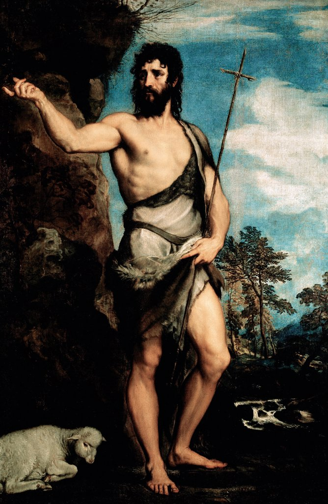 Stock Photo: 1899-73637 St John the Baptist, by Italian painter Tiziano Vecellio a.k.a Titian 1488-1576. Oil on canvas, 201 x 134 cm, c.1542. Galleria dell Accademia, Venice Italy.