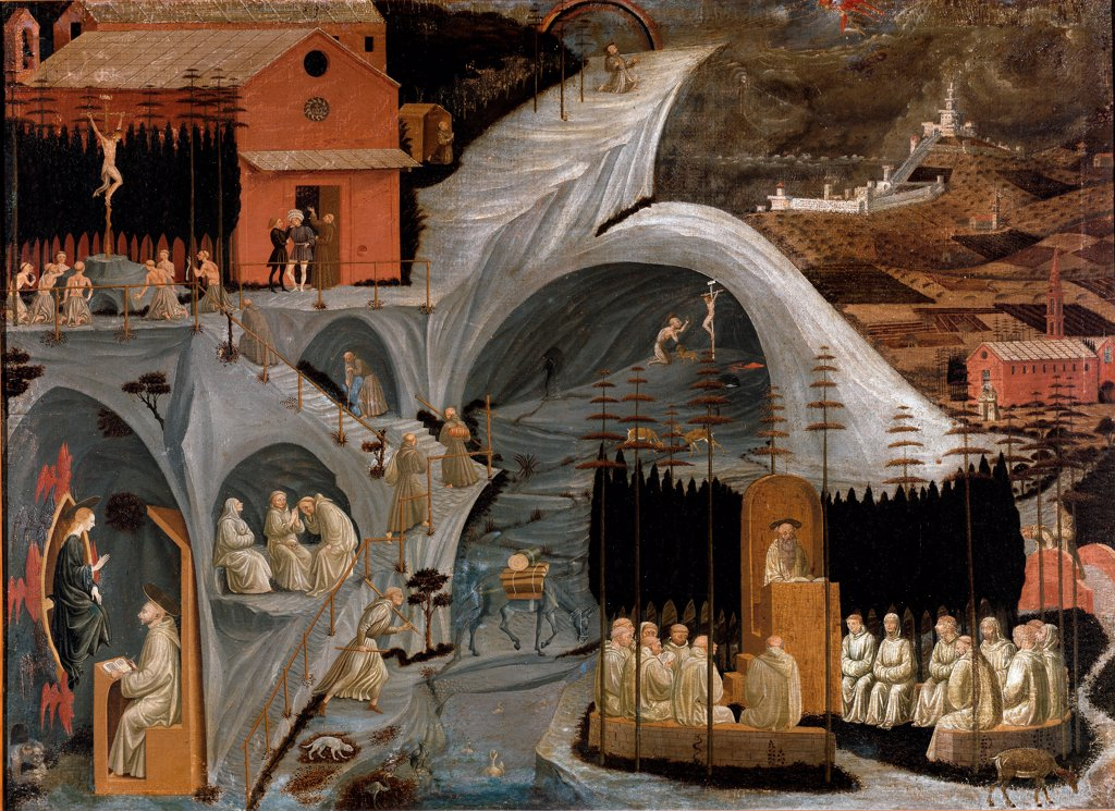 The Thebaid, by Italian painter Paolo Uccello 1397-1475. Tempera on wood, 80 x 109 cm, 1460. Galleria dell Accademia, Florence Italy. : Stock Photo