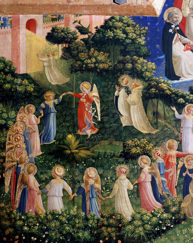 Stock Photo: 1899-73669 The last judgement detail , The blessed, by Italian painter Guido da Pietro a.k.a Fra Angelico or il Beato 1400-1455. Tempera on wood, 105 x 210 cm, 1431. Museo di San Marco, Florence Italy.