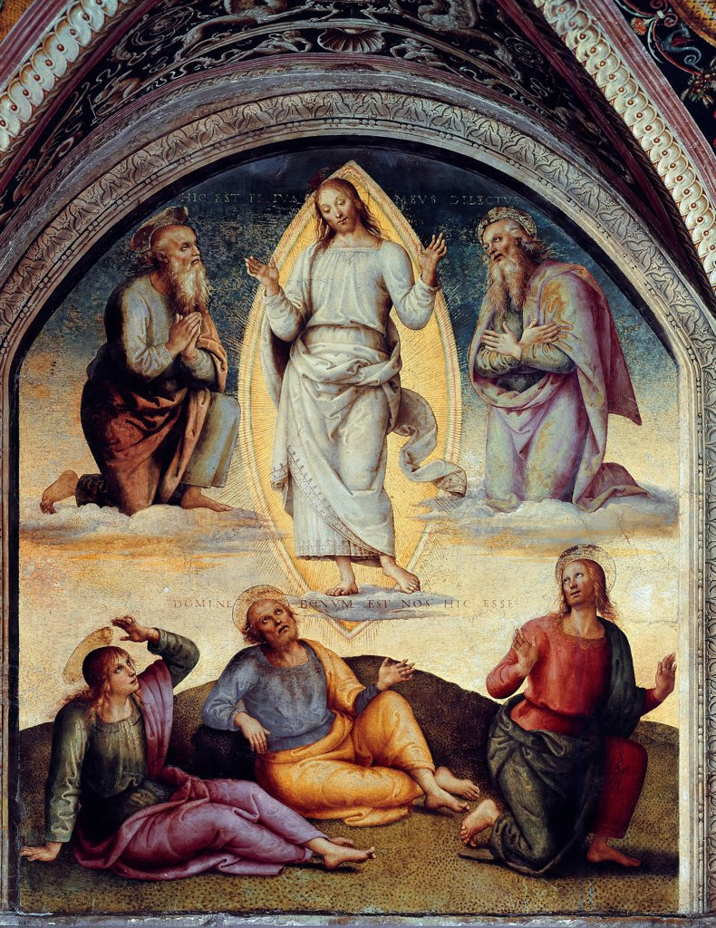 Stock Photo: 1899-73789 The transfiguration of Christ, by Italian painter Pietro Vannucci a.k.a Perugino c.1448-1523. Next to him are Moses and Elijah and at his feet, apostles John, Peter and James. Fresco, 1502. Collegio del Cambio, Perugia Italy.