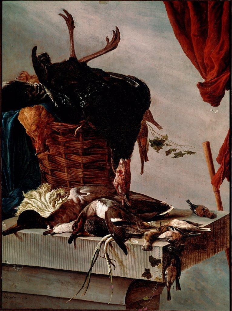 Stock Photo: 1899-73838 Still life with a turkey, by Dutch painter Salomon Van Ruysdael 1602-1670. Oil on canvas, 112 x 85 cm, 1661. Louvre Museum, Paris France.