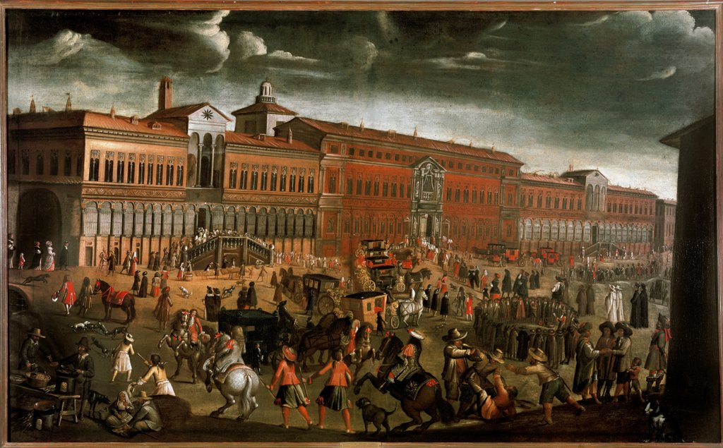 View of the Ospedale Maggiore during the Festival of Forgiveness, in Milan, by unknown artist. 142 x 229 cm, c. 1670-1780. Museo di Milano, Milan Italy. : Stock Photo