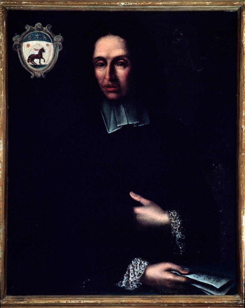 Portrait of Italian composer Bartolomeo Monari c.1670-1707, by unknown artist. Oil on canvas, 18th century. Civico Museo Bibliografico Musicale, Bologna Italy. : Stock Photo