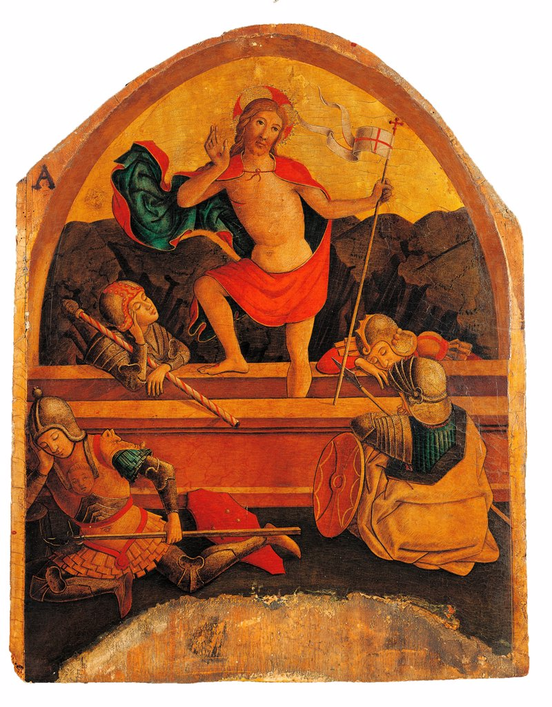 Monterubbiano Polyptych, by Alemanno Pietro, 15th Century, tempera, cm 146 x 33 : Stock Photo