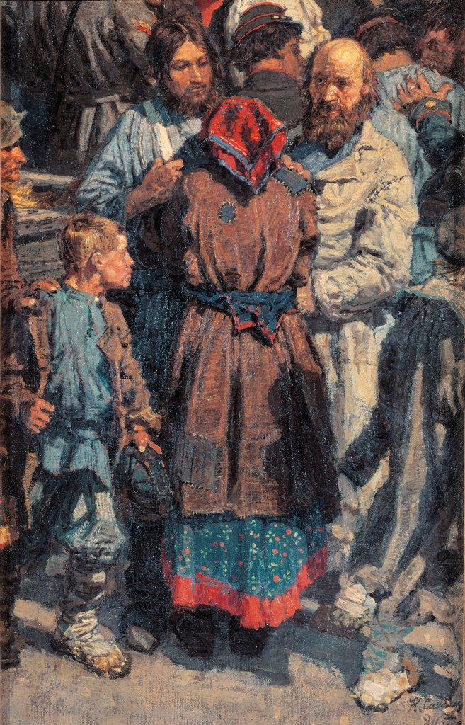 Stock Photo: 1899-74814 Group of People Greeting a Recruit, by Savickij Konstantin Apollonovic, 19th Century, 1880, oil on canvas, cm 48 x 31 48 x 31 cm