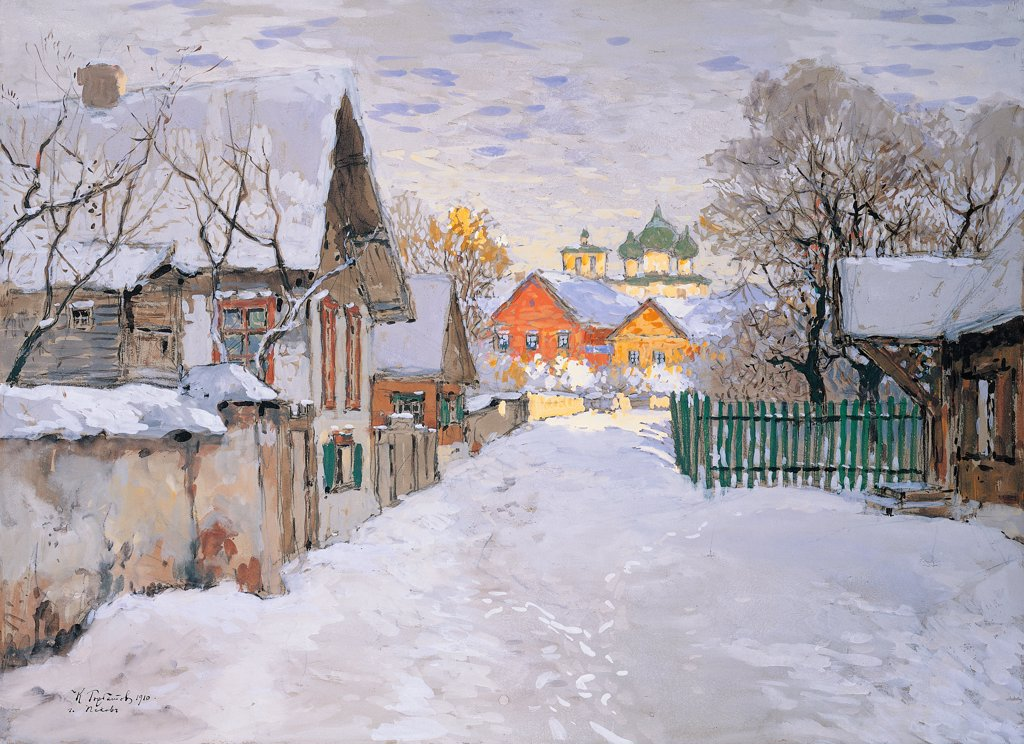 Stock Photo: 1899-74842 Winter Night. An Area of Pskov, by Gorbatov Konstantin Ivanovic, 20th Century, 1910, tempera, cm 48 x 66