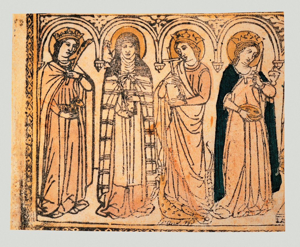 Procession of Saints, by Artista veneto, 15th Century, xilografia, : Stock Photo