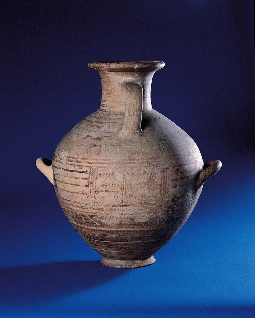 Stock Photo: 1899-75150 Cycladic hydria from rock-cut tomb No. 160 at Selciatello di Sopra (Viterbo), 9th Century,