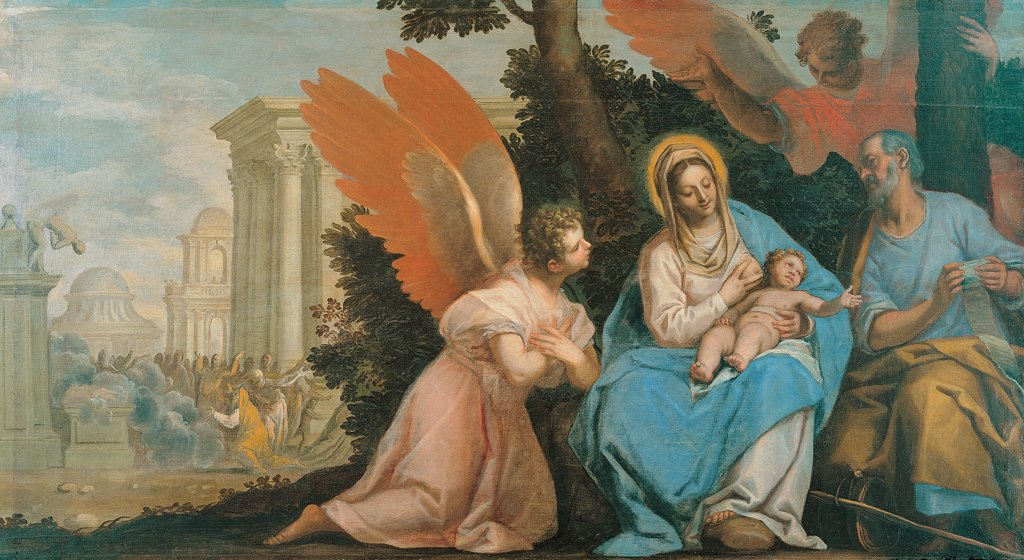 Stock Photo: 1899-75169 Rest on the Flight into Egypt, by Ingoli Matteo, 17th Century, 1627-1630, canvas,