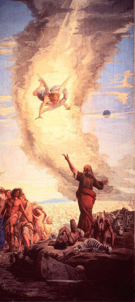 Stock Photo: 1899-75288 The resurrection of the flesh, by Bordignon No, 1874-1874 Century, fresco,