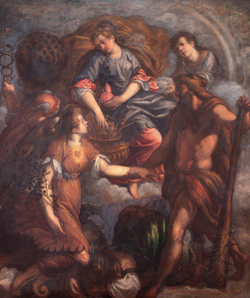 Stock Photo: 1899-75483 Triumph of Juno (Trionfo di Giunone), by Jacopo Negretti known as Palma il Giovane, 16th Century, oil on canvas, 190 x 165 cm