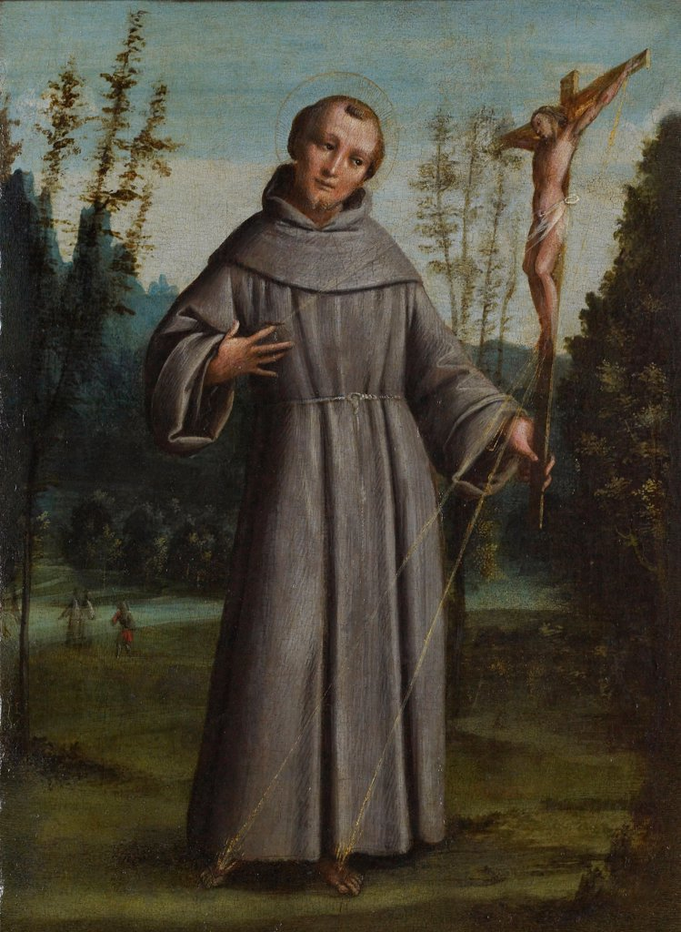 Saint Francis of Assisi (San Francesco d'Assisi), by Bernardino Lanino, 1540, 16th Century, from board to canvas, 41 x 39 cm : Stock Photo