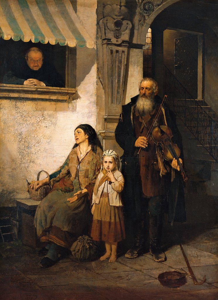 Stock Photo: 1899-75845 The violin player's family (La famiglia del suonatore di violino), by Girolamo Induno, 1873, 19th Century, oil on canvas, 127 x 94 cm