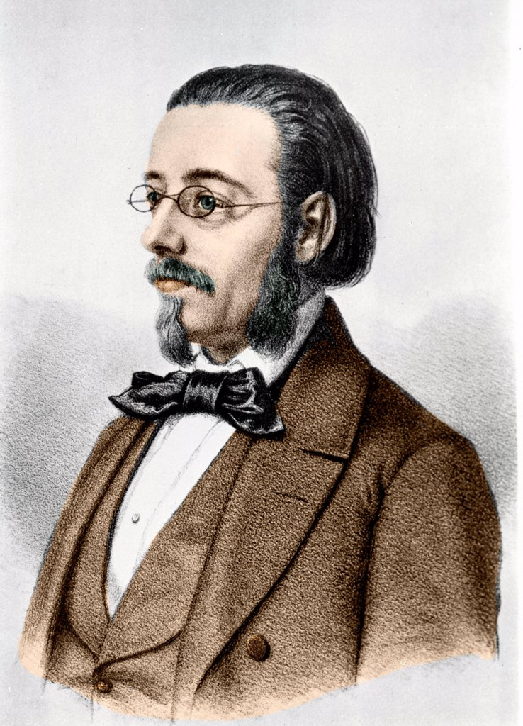Bedrich Smetana. Portrait of Bedrich Smetana 1824-1884, Czech pianist and composer. Engraving 19th century : Stock Photo