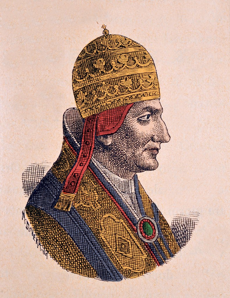 Stock Photo: 1899-76666 Pope Gregory VIII. Portrait of the Pope Gregory VIII 1187. Engraving in La Storia Dei Papi Del Card. Hergenrother, 1898. Private collection.