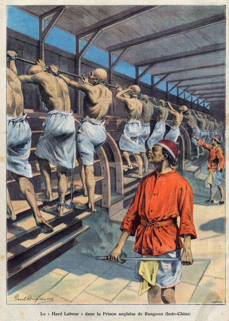 Stock Photo: 1899-76786 Hard Labour in a British prison in Rangoon, Burma. Illustration from French newspaper Le petit parisien. May 5, 1907.