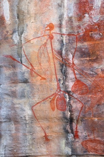 Stock Photo: 1899-78757 Aboriginal rock art, hunter with spear at the Ubirr Rock Art Shelter, Kakadu National Park, Northern Territory, Australia