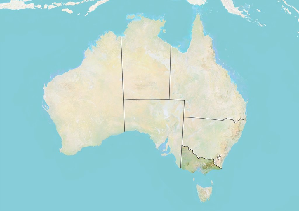 Relief map of Australia showing the State of Victoria. This image was compiled from data acquired by LANDSAT 5 & 7 satellites combined with elevation data. : Stock Photo