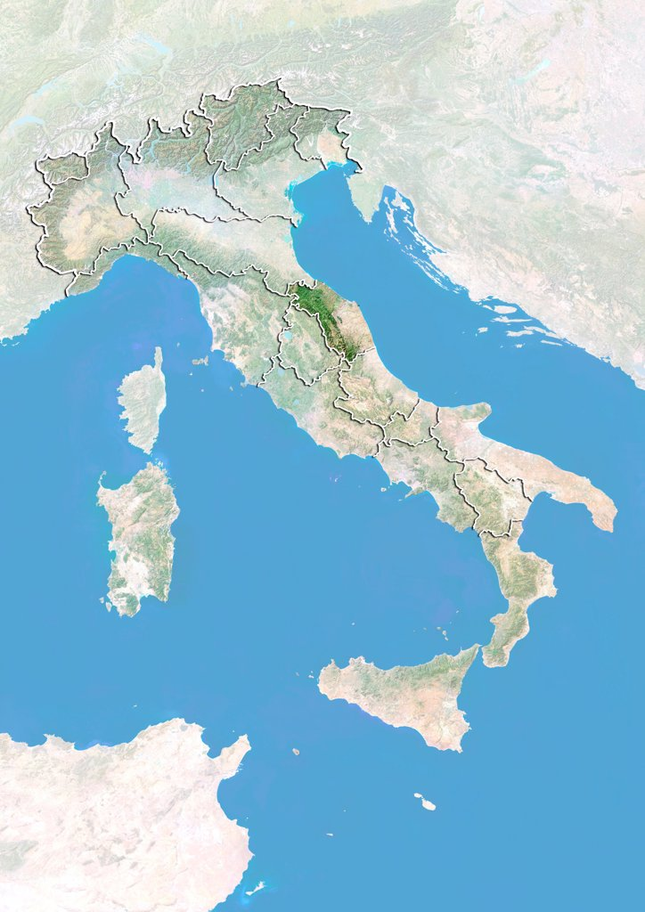 Stock Photo: 1899-80877 Satellite view of Italy with bump effect, showing the region of Marche. This image was compiled from data acquired by LANDSAT 5 & 7 satellites combined with elevation data.