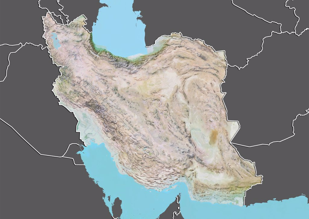 Relief map of Iran (with border and mask). This image was compiled from data acquired by landsat 5 & 7 satellites combined with elevation data. : Stock Photo