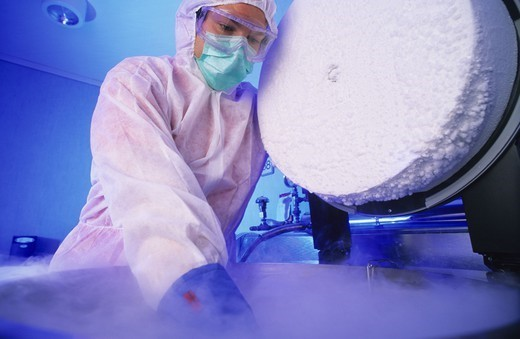 Stock Photo: 1899-83661 Liquid nitrogen room, real stem cell banks.
