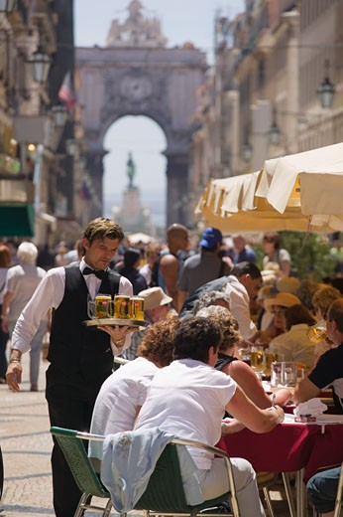 Cafe on Rua Augusta Baixa District  Lisbon Portugal : Stock Photo