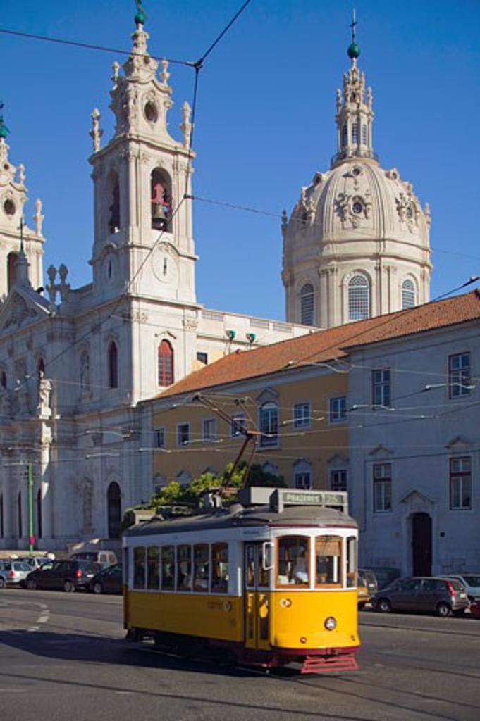 Stock Photo: 1901-1045 tram passing basilica da Estrela  bairro alto  Lisbon Portugal