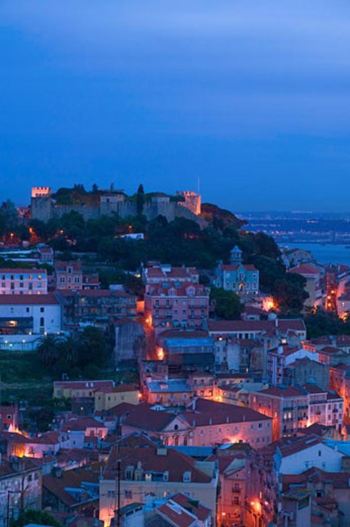 Lisbon Panorama including Sao Jorge castle from Miradouro da Nossa Senhora do Monte Baixa Portugal : Stock Photo