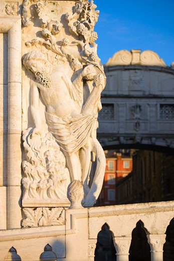 Stock Photo: 1901-1279 Sculpture of the Drunkeness of Noah on the Doges Palace Bridge of Sighs Venice Italy